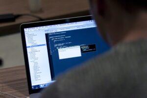 Computer screen, programming code
