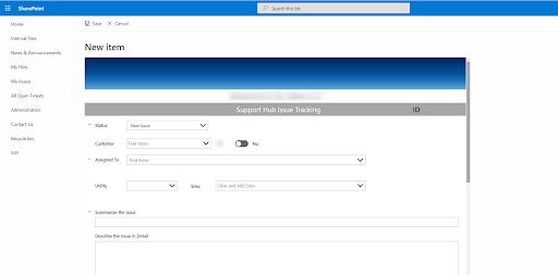 screenshot of support hub