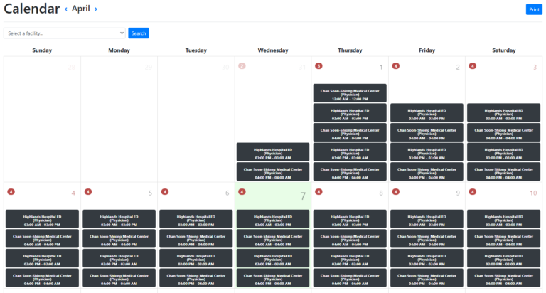 example of calendar with schedule