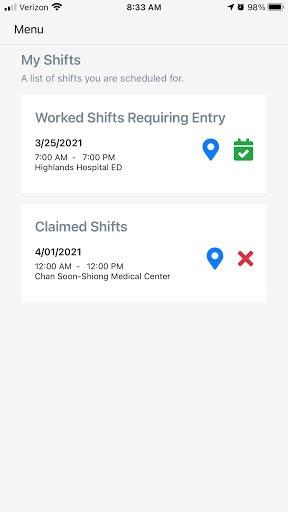 screenshot of app working shifts